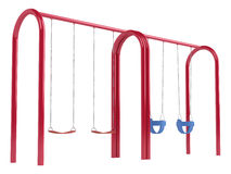 Childrens swings on tubular frame. Childrens swings on a red metal tubular frame with two different seat types isolated on white Royalty Free Stock Photography