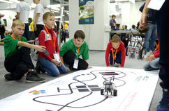 Childrens of Team Russia at the robot Olympiad in Sochi Royalty Free Stock Photo