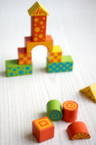 Childrens toy blocks barricaded castle Stock Photography