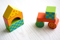 Childrens toy blocks barricaded castle Royalty Free Stock Image