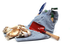 Childrens toy garden tools Royalty Free Stock Photography