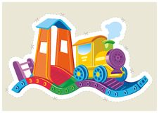 Childrens toy steam locomotive. Royalty Free Stock Photo