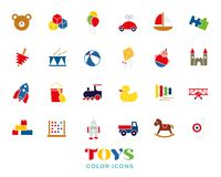 Childrens Toys Color icons Set Royalty Free Stock Images