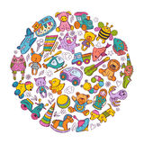 Childrens toys icon set in circle shape. Doodle vector illustrations Stock Photo