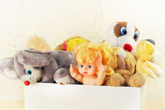 Childrens toys. Old children's toys in a box Stock Image