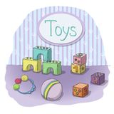 Childrens toys in the room Stock Image