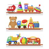 Childrens toys on the shelves. Wood, paper, plastic colorful toys for children, objects for a child to play with. Vector flat style cartoon illustration vector illustration