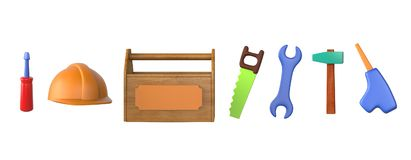 Childrens toys - work tools isolated on white. vector illustration