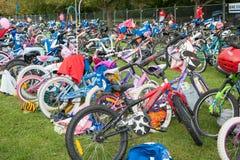 Childrens triathlon bike station stock image