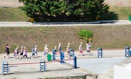 Childrens walking on promenad zone in Saratov city Stock Image