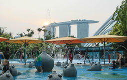 A childrens water play area at Gardens by the Bay Royalty Free Stock Photography