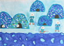 Childrens watercolor painting: eskimos family with. Childrens watercolor painting: group of eskimos with igloos stock illustration