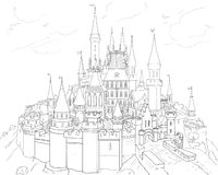CASTLE Hand Drawn Illustration 2019. CASTLE. 2019 Children winter dream, Holidays. Castle black on white background Hand Drawn illustration. Festive Decorative stock illustration