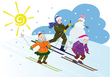 Childrens winter vacation Stock Images
