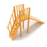Childrens wood slide 3D render illustration. On white background Royalty Free Stock Photos