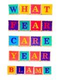 Childrens wooden word building blocks Stock Image