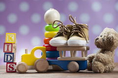 Childrens World toy on a wooden background. Royalty Free Stock Photo