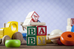 Childrens World toy on a wooden background. Stock Photography