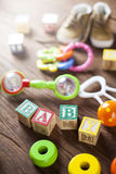 Childrens World toy on a wooden background. Stock Images