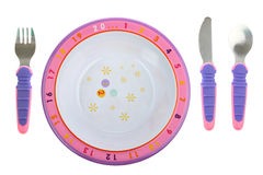 childs刀叉餐具食物查出的牌照白色 库存图片