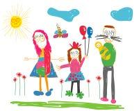 Childs που σύρει την ευτυχή οικογένεια Στοκ Φωτογραφίες