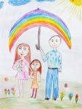 Childs που σύρει μια ευτυχή οικογένεια Στοκ φωτογραφία με δικαίωμα ελεύθερης χρήσης