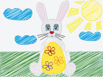 Childs вектора рисуя яичко зайчика пасхи Стоковые Фото
