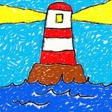 childs рисуя маяк Стоковые Фото