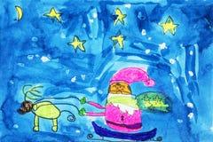 Childs-Aquarellzeichnung von Santa Claus stockfoto