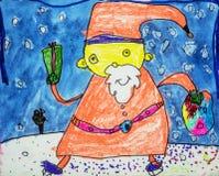 Childs-Aquarellzeichnung von Santa Claus Stockfotografie