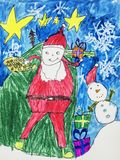 Childs-Aquarellzeichnung von Santa Claus Lizenzfreie Stockfotografie