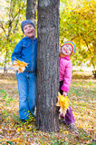 Childs in autumn park Royalty Free Stock Photo