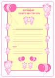 Childs birthday party invitation. Girls birthday party invitation card with pink cartoon bears and balloons stock illustration