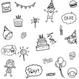 Childs birthday party set doodle Stock Image