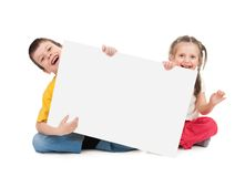 Childs with blank paper Royalty Free Stock Photo