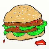Childs burger drawing Stock Photo