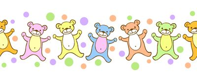 Seamless kids border pattern with funny colorful teddy-bears and dots. Stock Photos