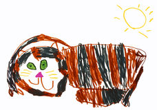 Childs cat drawing Royalty Free Stock Photos