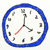 Childs clock drawing Stock Photo