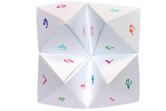 A childs cootie catcher. With colorful numbers Royalty Free Stock Photo