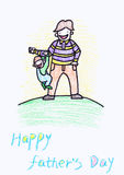 Childs crayon drawing of a Father's Day card Royalty Free Stock Images