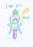 Childs crayon drawing of a Father's Day card Royalty Free Stock Image