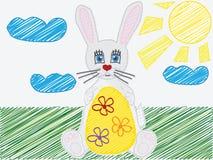 Childs de vecteur dessinant l'oeuf de lapin de Pâques Photos stock