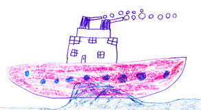 Childs drawing of battleship Stock Image