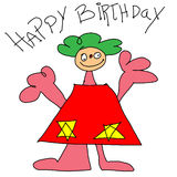 Childs drawing birthday Stock Images