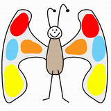 Childs drawing butterfly Royalty Free Stock Photos