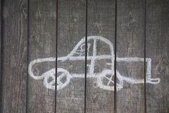 Childs drawing of a car Royalty Free Stock Photos