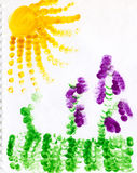 Childs drawing. Child fingerpainting of grapevines, sun a grass Stock Photos