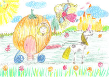 Childs drawing fairy of a tale royalty free stock photos