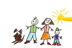 childs drawing of family stock photography